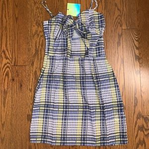 Brand NWT Missguided Plaid Tie Up Dress